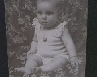 Antique Cabinet Photo-Baby Girl-Diaper-Bows-Locket Necklace-Barefoot-LaCrosse,WI