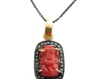 Diamond Ganesh Coral Necklace - Wisdom Overcome Obstacles,  Diamond Pave , Ganesh Pendant, Ganesh Necklace, Ganesh Charm, Coral Ganesh,