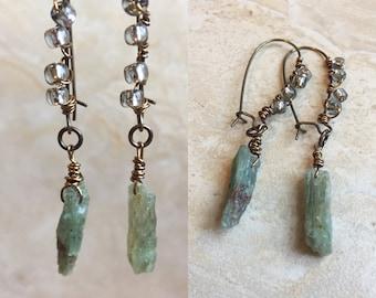 Green Kyanite Earrings - Antiqued Brass Dangle Earrings