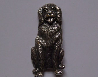 Sterling Silver Golden Retriever Brooch Signed 925 Sterling Silver