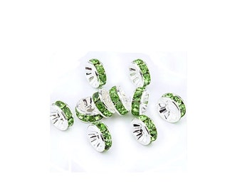 Peridot  Crystal Silver Rondelle Spacer Charm Beads , 24 Pcs , 6mm Crystal Rhinestone Spacer Beads