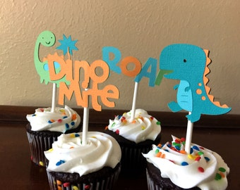 Dinosaur Party Cupcake Toppers, Dinosaur Birthday Party, Dinosaur Baby Shower, Dinosaur 1st Birthday, Prehistoric Cupcake Toppers, Set of 12