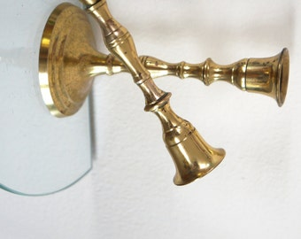 Vintage Brass Candle Holders Candlesticks Decorative Round Bottoms Set of Two