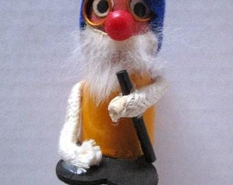 Vintage Wooden Alpine Figure, Miniature, Blue Felt Hat, Red Nose, Beard, Walking Stick, Hans Bolling Style Figurine, Tourist Souvenir, Elf