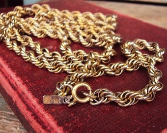 Vintage Long Chain Necklace Monet Quality Fine Costume Jewelry 1960s mod modernist chain Layered style Versatile
