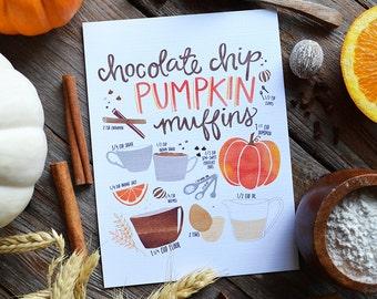 Pumpkin Muffin recipe, Pumpkin Spice & Everything Nice, Happy Fall, Seasonal Decor, Illustration, Fall Decoration, Pumpkin Spice Season