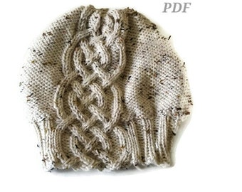 Knitting Pattern PDF - Celtic Cable Women's Slouchy Hat, Instant Download, Teen Slouchy Hat, Chunky Slouchy Hat, Fashion, Winter 2016