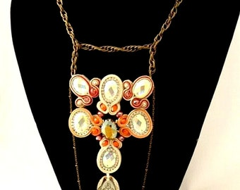 buddha necklace , coral necklace , crystal buddha necklace , one of a kind  ,  chain and beads , soutache boho jewelry ,  - PRAY -