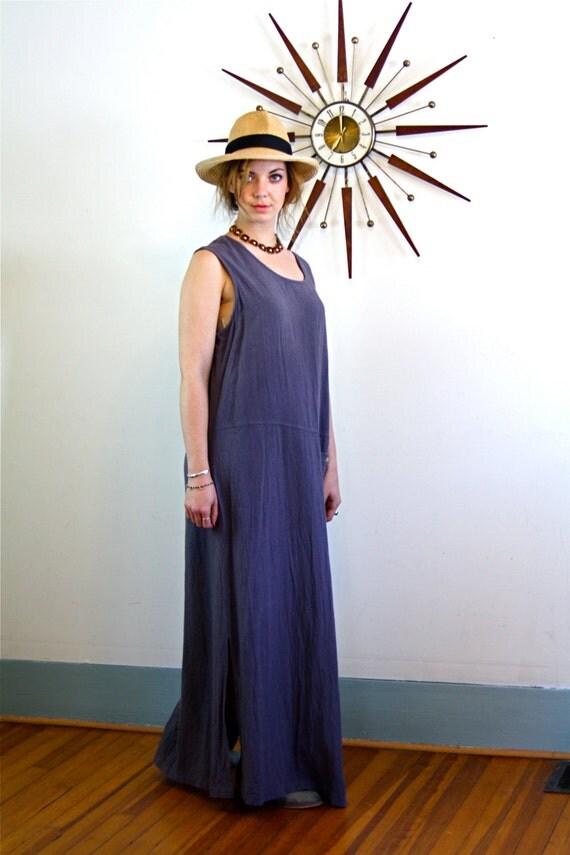 Vintage 90s Linen Sack Dress Simple Straight Sheath Gray Purple Boxy Baggy Free Style 1990s Sleeveless Long Column Dress Fashion Week Chic