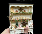 SALE - Primitive Candy Cane Christmas Cabinet - Artisan fully Handmade Miniature in 12th scale. From After Dark miniatures.
