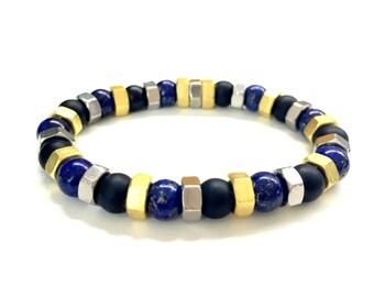 Men's Hex Nut Bracelet. Cool Guys Bracelet. Gemstone Jewelry w/ Black Onyx, Lapis Lazuli. Stretch Bracelet. Unisex Jewelry. For Him and Her