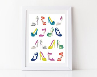 Shoes Art Print, Fashion illustration; Mothers day gift, Gift idea girlfriend, Mother, Wife, Fiancee, High Heeled Shoes, Stiletto