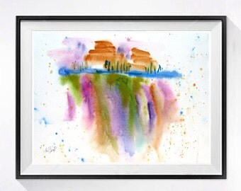 Colorful Modern Abstract wall Art Colorful abstract painting Colorful original watercolor abstract painting Drip WatercolorByMuren 15x20  N