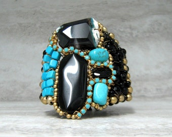 Stone Cuff in Turquoise & Black Colorblock- Artisan Handcrafted Agate Bracelet by Sharona Nissan (4011b) Ready to ship