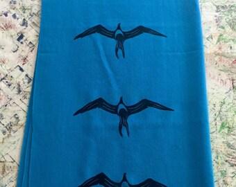 Shawl, Blue, with Block Printed Black ʻIwa (Hawaiian Frigate Bird)