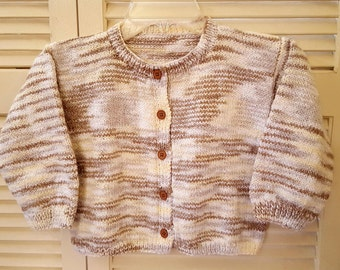 Child Size 3 Yr Hand Knitted Button Up Sweater/ Unisex/ Boys/ Girls / Handmade Clothing For Kids/White, Cream, Taupe, And Brown