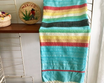 Vintage Mid Century Woven Mexican Tourist Tablecloth Embroidered Folk