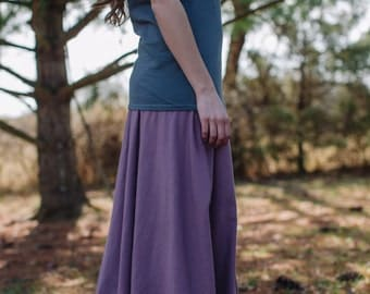 Womens Organic Cotton Jersey Knit Semi Circle Maxi Skirt - Handmade to Order - Made in the USA -Iris