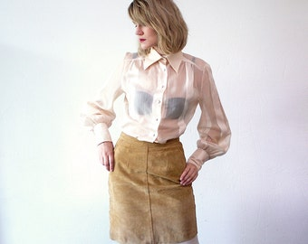 70s sheer blouse. cream blouse. evening blouse - small to medium