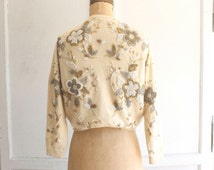 holiday sparkle gold beaded cardigan sweater 60s