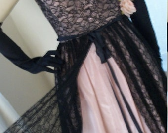 Vintage 1940s Black Chantilly Lace Pink Taffeta Dress Size S Goth Divine