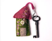"""Wool Felt House Key Chain in raspberry, olive green, pink and purple with Embroidered Floral and Beaded Embellishments, Key Fob in 3.5x2"""""""