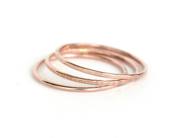 Set of 3 - Skinny Stack Rings - 14kt rose gold fill - Light weight ring - simple band- 3 texture set - 3 different rose gold rings