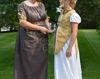 Jane Austen Regency Ball Round Gown Dress in Brown Gold Linen Silk