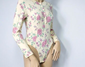Bodysuit Vintage Rave Floral Bodystocking Leotard Long Sleeve One Piece Blouse Size Small