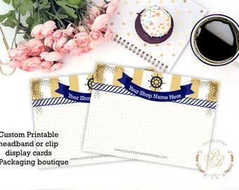 Custom Printable Display Cards - choose your size and orientation - download will arrive within the day. Nautical jewelry display card