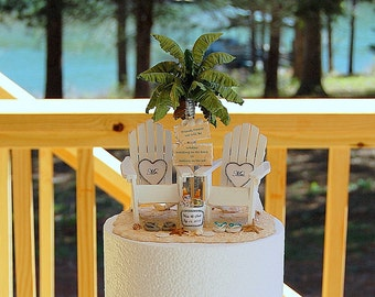 Attached To Base! Personalized Beach Sign & Beverage Wedding Cake Topper Custom Colors Artisan Handmade To Order