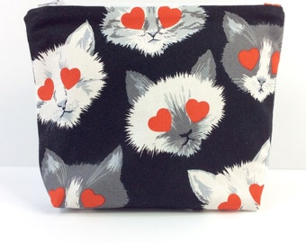 POUCH- Heart Eyes Cats **handmade**