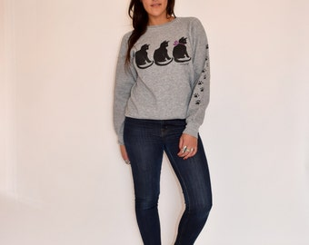 Vintage 80s CAT LADY Pullover Sweatshirt M