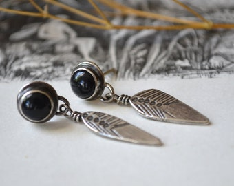 Black Onyx Leaf Vane Blade Silver Earrings