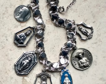 Our Lady of Grace and Lourdes, Miracles ~ Vintage AMERICAN Sterling Silver Catholic Medals Hearts Bracelet