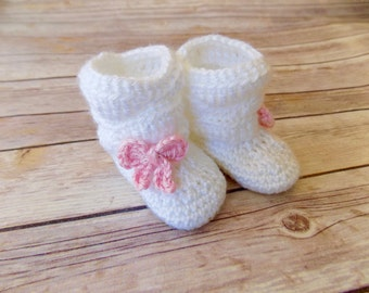 Baby Booties, Baby Shoes, Slouch Baby Boots, White Baby Shoes, Boots with Bows