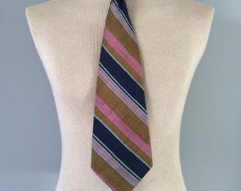 Vintage 1950s silk wide neck tie blue, pink, light brown *MADE IN ENGLAND*