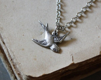 Silver Bird Necklace - Swallow Necklace - Animal Totem