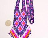 Vintage  Southwest Tribal Necklace Choker Collar Lariat Orange Purple AB Black Fringe Diamond Design Woven Glass Beads Retro  Waterfall