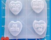 SALE 4 Kawaii small Valentine Hearts with sayings Handmade Plastic Mold