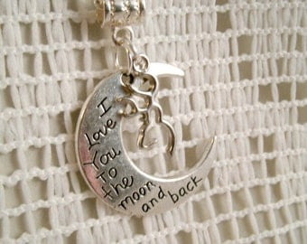 Deer Charm Love you to the Moon Necklace pendant with Dangling Deer inside charm