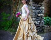 Bridal Wedding Gown Corset Skirt Dress, Corset Gown Bustled Train Skirt Steel Boned Stays, all sizes