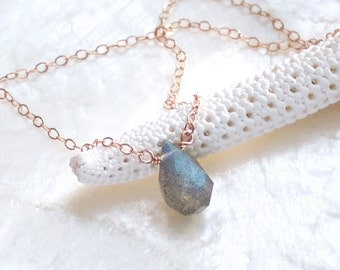 Blue Green Flash Labradorite and 14kt Rose Gold Fill Teardrop Solitaire Necklace - Eco Friendly Recycled Nickel Free Gold Ready to Ship