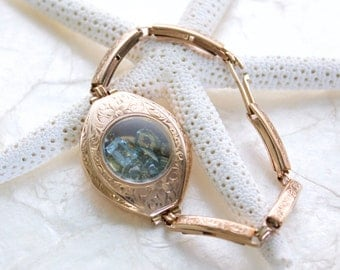 Sands of Time Shake Bracelet Sand or Aquamarine Engraved Vintage Edwardian Ladies Wrist Watch 14kt Rose Gold Fill Eco Friendly Conflict Free