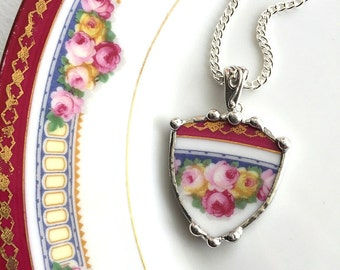 Broken china jewelry necklace pendant rose shield antique porcelain broken plate necklace