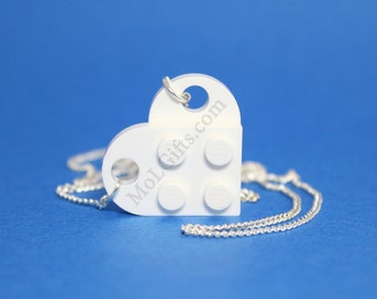 White Heart Necklace made from LEGO (r) Heart Pieces, Perfect Valentine's Day Necklace