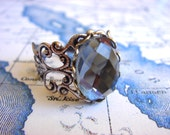 Intuition - Ring - Adjustable Silver Ring With A Faceted Glass Jewel - Handmade Jewelry by HoneyNest