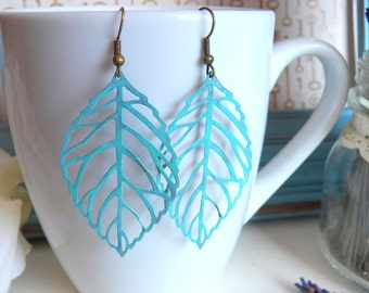 Gorgeous Hand-painted Turquoise Blue Distressed Leaf Earrings, Antique Brass, Boho Large Gypsy Earrings, Patina Jewelry Gifts by HoneyNest