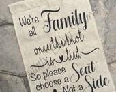 Wedding Sign, Choose A Seat Sign, Burlap Flag, Wedding Garden Flag, Shabby Chic, Rustic Wedding, Bridal Flag, Wedding Guest Flag, Decor