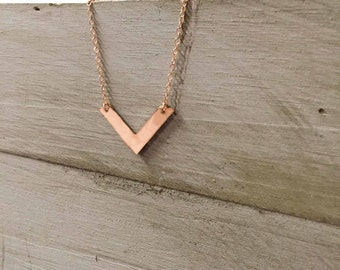 Rose Gold Chevron Mixed Metals Necklace Silver Rose Gold V Necklace